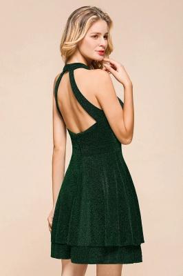 Glamorous Green Halter Sleeveless Sequined Short Prom Dresses Backless Sheath Formal Dresses_10