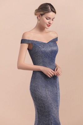 Gorgeous Off-the-shoulder Silver Prom Dresses Sparkly Sequin Long  Evening Dresses_9