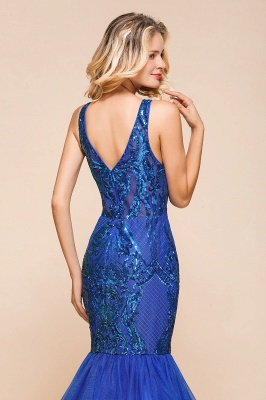 Elegant V-Neck Sequined Royal Blue Tulle Prom Dresses Sleeveless Lace Appliques Mermaid Evening Dresses_9