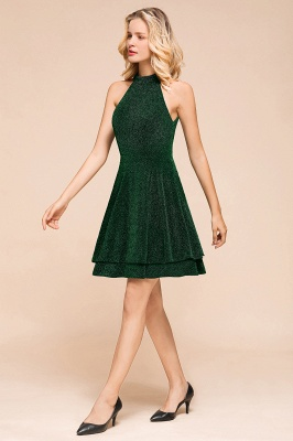 Glamorous Green Halter Sleeveless Sequined Short Prom Dresses Backless Sheath Formal Dresses_5