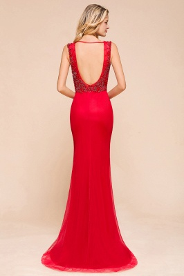 Sexy A-line V-Neck Red Prom Dresses Open Back Sleeveless Formal Dresses with Beaded Belt_6