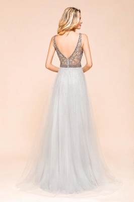 Beaded Plunging V-Neck Prom Dresses Sexy Tulle Sleeveless Evening Dresses On Sale_3