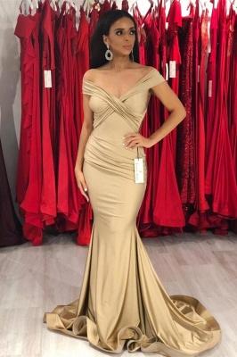 Modest Off-the-Shoulder Stretch Satin V-Neck Prom Dresses Mermaid Sleeveless Champagne Evening Dresses_1