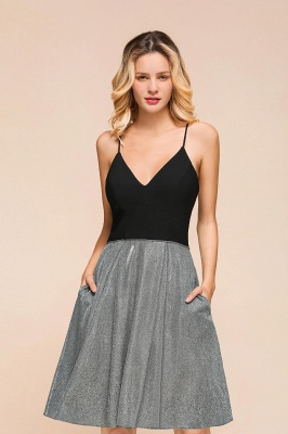 Gorgeous Black Spaghetti Straps Deep V-Neck Prom Dresses A-Line Short Party Dresses with Crisscross Back_5