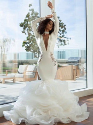 Sexy Mermaid Deep-V-Neck Wedding Dresses  Lace Appliques Bridal Gowns with Open Back On Sale_4