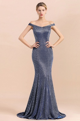 Gorgeous Off-the-shoulder Silver Prom Dresses Sparkly Sequin Long  Evening Dresses_4
