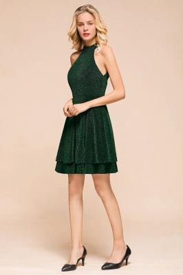 Glamorous Green Halter Sleeveless Sequined Short Prom Dresses Backless Sheath Formal Dresses_6