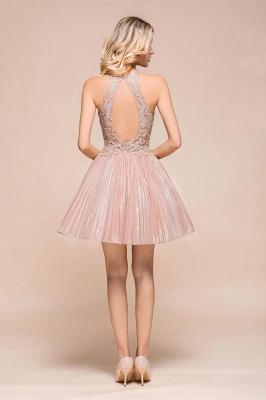 Gorgeous Pink Halter Lace Applique Short Prom Dresses A-Line Backless Formal Party Dresses_3