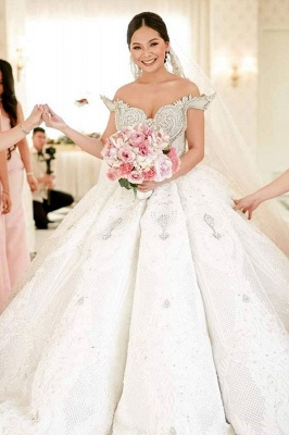Affordable Off-the-shoulder Appliques Wedding Dresses Beading Lace Ruffles Bridal Gowns_2