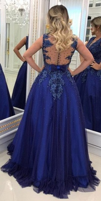 Glamorous V Neck Lace Appliqued Sleeveless Prom Dresses Royal Blue Beading Evening Gowns with Bowknot Waistband_4