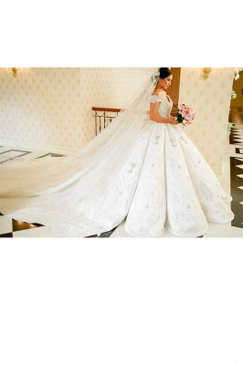 Affordable Off-the-shoulder Appliques Wedding Dresses Beading Lace Ruffles Bridal Gowns_4