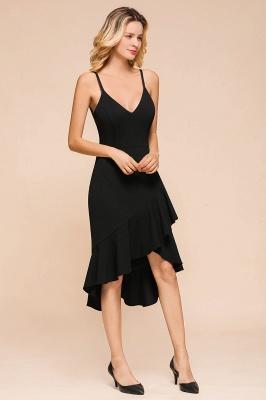 Stunning Black Spaghetti Strap Sweetheart Mermaid Short Prom Dresses Backless Rufffles Formal Dresses_7