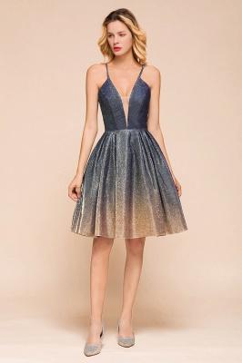 Stunning Spaghetti Strap V-Neck Short Prom Dresses Ruffles Crisscross Back Graduation Dresses_4
