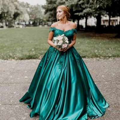 Stunning Dark Green Off-the-Shoulder Sweetheart Prom Dresses Appliques Beading Ruffles Formal Party Evening Dresses_4