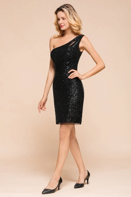 Black One-Shoulder Sequined Prom Dresses Sheath Short Formal Dresses_8