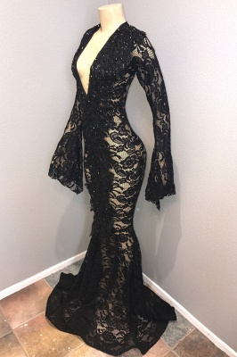 Affordable Black Lace V-Neck Long Sleeves Mermaid Prom Dresses  Sheer Long Evening Dresses On Sale_2