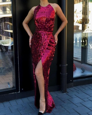 Glamorous Halter Sequined Front Slit Long Prom Dresses Sheath Sleeveless Formal Party Dresses_2