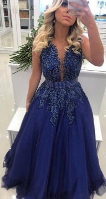Glamorous V Neck Lace Appliqued Sleeveless Prom Dresses Royal Blue Beading Evening Gowns with Bowknot Waistband_3