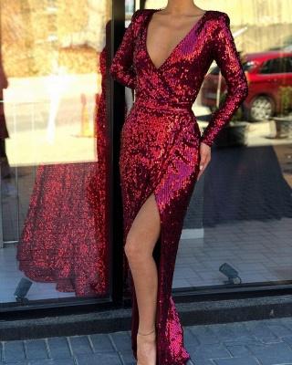 Elegant Deep V-Neck Long Sleeves Sequined Prom Dresses  Front Slit Long Sheath Evening Dresses_2