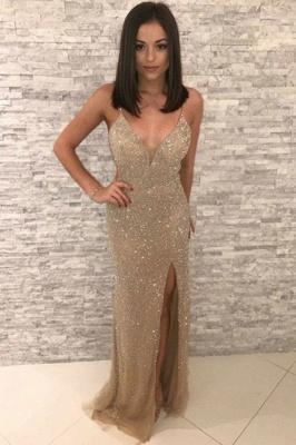 Modest Golden Spaghetti Strap V-Neck Sleeveless Prom Dresses Sequined Front Slit Sheath Evening Dresses_1