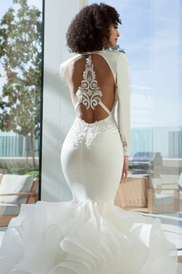 Sexy Mermaid Deep-V-Neck Wedding Dresses  Lace Appliques Bridal Gowns with Open Back On Sale_2