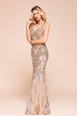 Glamorous Sequined High-Neck Prom Dresses Sleevelss Mermaid Long Formal Party Dresses_4