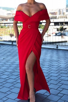 Sexy Red Off-the-shoulder Front Slit Prom Dress Sheath Long Evening Dresses_1