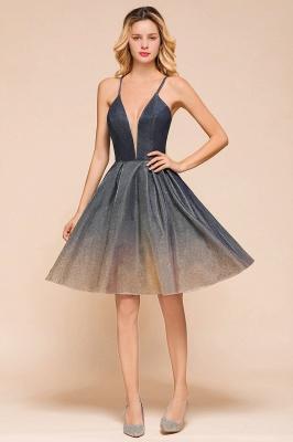 Stunning Spaghetti Strap V-Neck Short Prom Dresses Ruffles Crisscross Back Graduation Dresses_5