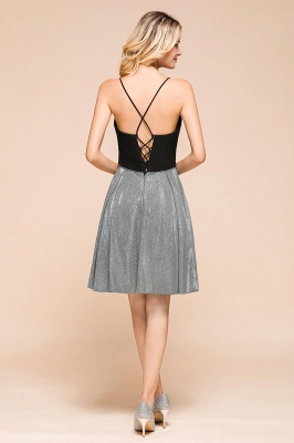 Gorgeous Black Spaghetti Straps Deep V-Neck Prom Dresses A-Line Short Party Dresses with Crisscross Back_3