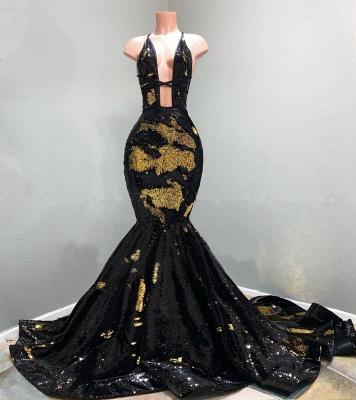 Sexy Spaghetti Straps Deep Neckline Prom Dresses Sequined Black Mermaid Formal Dresses_2