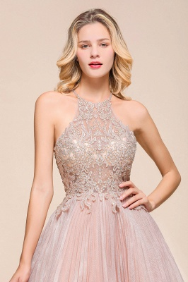Gorgeous Pink Halter Lace Applique Short Prom Dresses A-Line Backless Formal Party Dresses_7