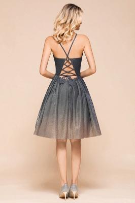 Stunning Spaghetti Strap V-Neck Short Prom Dresses Ruffles Crisscross Back Graduation Dresses_3