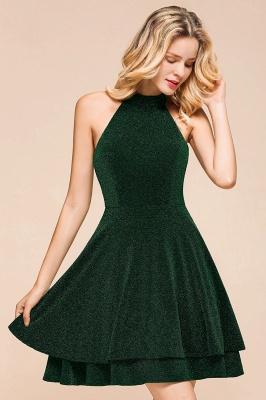 Glamorous Green Halter Sleeveless Sequined Short Prom Dresses Backless Sheath Formal Dresses_9