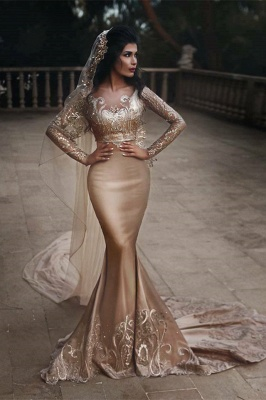 Luxurious Two-piece Lace Mermaid Champagne Wedding Dresses Appliques Long Sleeves Bridal Gowns with Crystals On sale_1