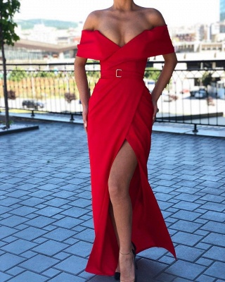 Sexy Red Off-the-shoulder Front Slit Prom Dress Sheath Long Evening Dresses_2