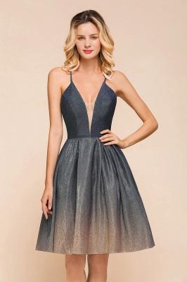 Stunning Spaghetti Strap V-Neck Short Prom Dresses Ruffles Crisscross Back Graduation Dresses_9