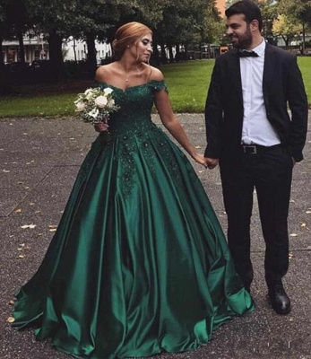 Stunning Dark Green Off-the-Shoulder Sweetheart Prom Dresses Appliques Beading Ruffles Formal Party Evening Dresses_5