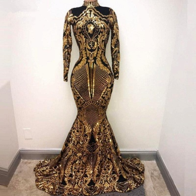 Gorgeous Golden High Neck Long Sleeve Sequined Mermaid Prom Dresses Fitted And Flare Evening Dresses_3