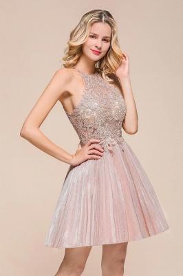 Gorgeous Pink Halter Lace Applique Short Prom Dresses A-Line Backless Formal Party Dresses_4