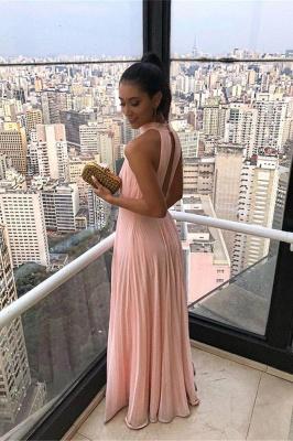 Gorgeous High Neck Keyhole Prom Dresses Open Back Chiffon Pink Evening Dresses_2