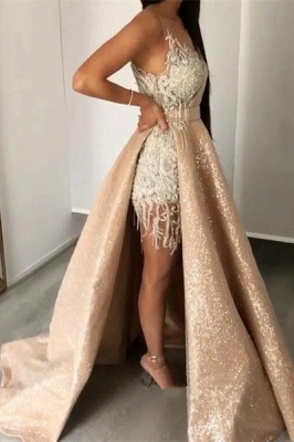 Gorgeous Jewel Sleeveless Applique Beading Prom Dresses Sequined A-Line Evening Dresses_1