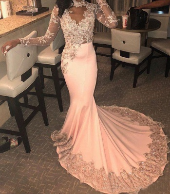 Modest High Neck Long Sleeves Applique Prom Dresses Lace Beading Mermaid Evening Dresses_2