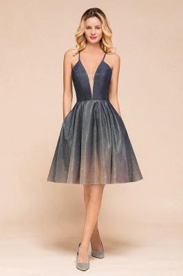 Stunning Spaghetti Strap V-Neck Short Prom Dresses Ruffles Crisscross Back Graduation Dresses_1
