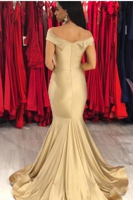 Modest Off-the-Shoulder Stretch Satin V-Neck Prom Dresses Mermaid Sleeveless Champagne Evening Dresses_2