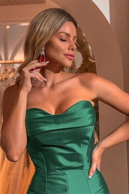 Gorgeous Green Strapless Front Slit Ruffles Prom Dresses Mermaid Long Evening Dresses_2