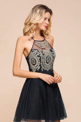 Gorgeous Halter Applique Lace Short Prom Dresses A-Line Backless Formal Dresses_9
