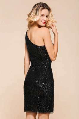 Black One-Shoulder Sequined Prom Dresses Sheath Short Formal Dresses_7