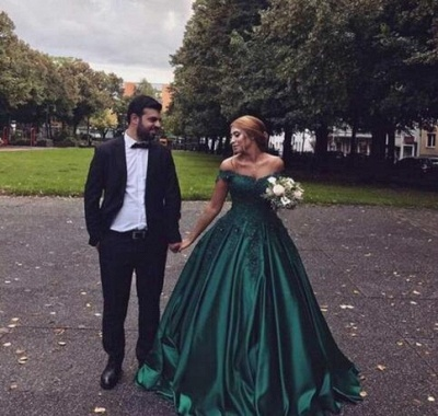 Stunning Dark Green Off-the-Shoulder Sweetheart Prom Dresses Appliques Beading Ruffles Formal Party Evening Dresses_3