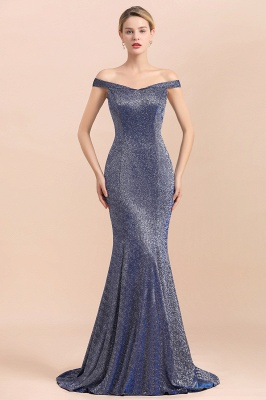 Gorgeous Off-the-shoulder Silver Prom Dresses Sparkly Sequin Long  Evening Dresses_1