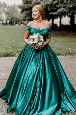 Stunning Dark Green Off-the-Shoulder Sweetheart Prom Dresses Appliques Beading Ruffles Formal Party Evening Dresses_2